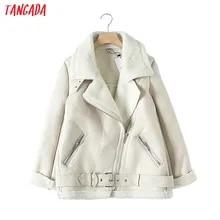 벨트와 Tangada 여성 베이지 색 모피 가짜 가죽 자켓 코트 칼라 숙녀 2019 겨울 두꺼운 따뜻한 대형 코트 5b01을 거절