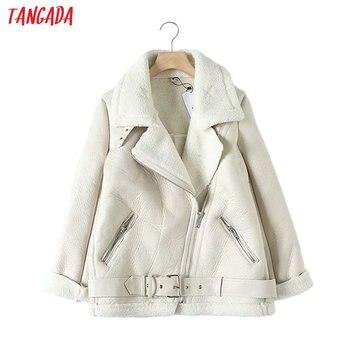 Tangada Women beige fur faux leather jacket coat with belt turn down collar Ladies 2019 Winter Thick Warm Oversized Coat 5B01