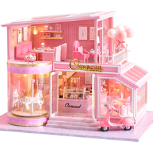 CUTEBEE DIY Dollhouse Wooden doll Houses Miniature Doll House Furniture Kit Casa Music Led Toys for Children Birthday Gift A73