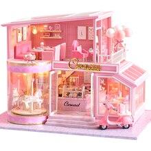 CUTEBEE FAI DA TE Casa Delle Bambole In Legno Case di bambola In Miniatura Mobili Casa di Bambola Kit di Casa di Musica Ha Portato Giocattoli per I Bambini Regalo Di Compleanno A73