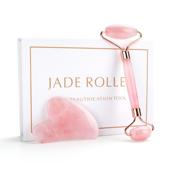 цена на Natural Rose Quartz Roller Facial Jade Roller Stone Gua sha Scraper Face Lifting Massage Skin Eye Body Massager Beauty Care Tool