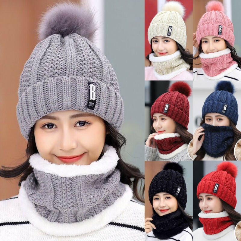 Women's Fashion Winter Hat Scarf Set Of Hat And Scarf For Women Girl Warm Beanies Hat For Girl Ring Scarf Pompoms Winter Hats