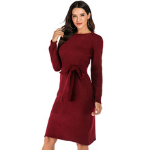 Ladies Burgundy Kintted Sweater Dress Women Mermaid Long Sleeve Bow Sashes Pullover Sexy Bodycon Autumn Winter Dress Vestidos burgundy chimney collar long sleeves bodycon hem ribbed sweater dress