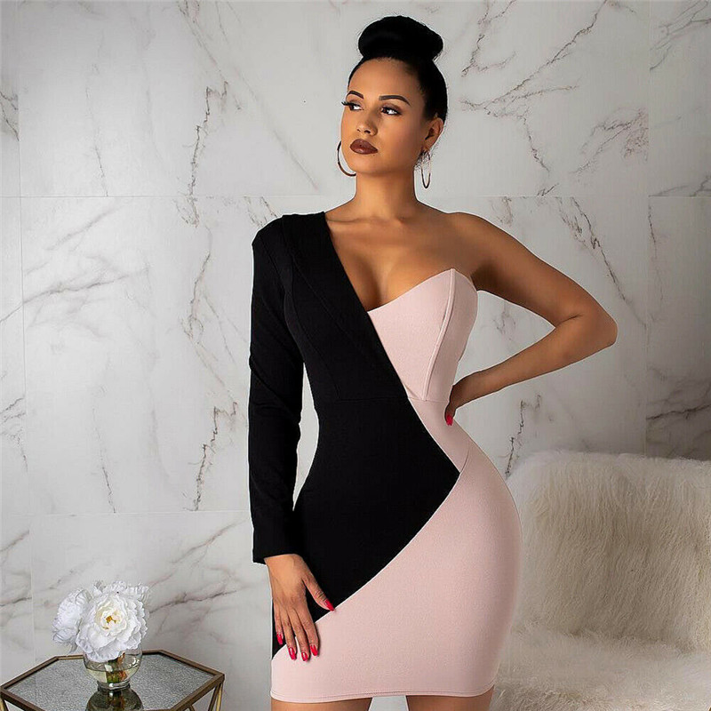 Women Short Mini Dress Bodycon Bandage One Shoulder Club Patchwork Elegant Dress