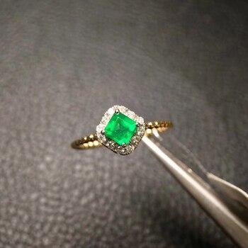 shilovem 925 sterling silver real  Natural Emerald Rings fine Jewelry  women trendy wedding  wholesale gift 3mm  jcj0303889agm