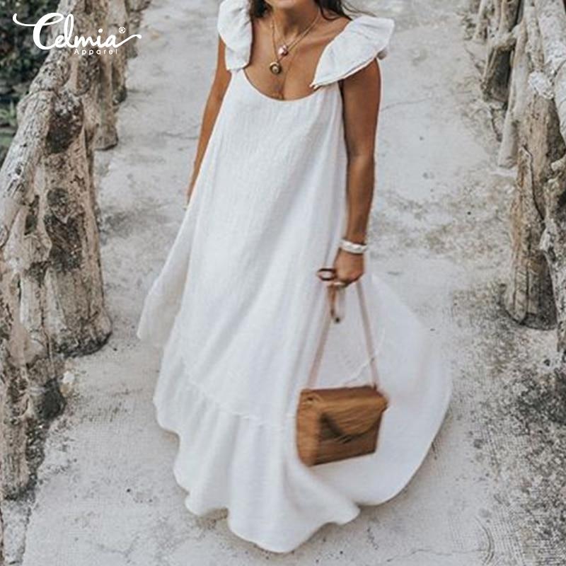 2021 sommer Celmia Lange Rüschen Kleid Beiläufige Kurze Hülse O-ansatz Gefaltete Maxi Kleid Plus Größe Böhmischen Strand Bodycon Vestidos