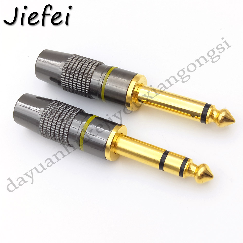 1Pcs Jack 6.3 Smoothly Gold Plating 6.35mm 2 Pole Mono / 3 Pole Stereo Plug Assembly Wire Connector Gunmetal Audio Plug
