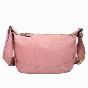Image 1 - 정품 가죽 가방 여성 디자이너 핑크 어깨 메신저 가방 크로스 바디 고품질 소프트 진짜 가죽 핸드백 여자 가방