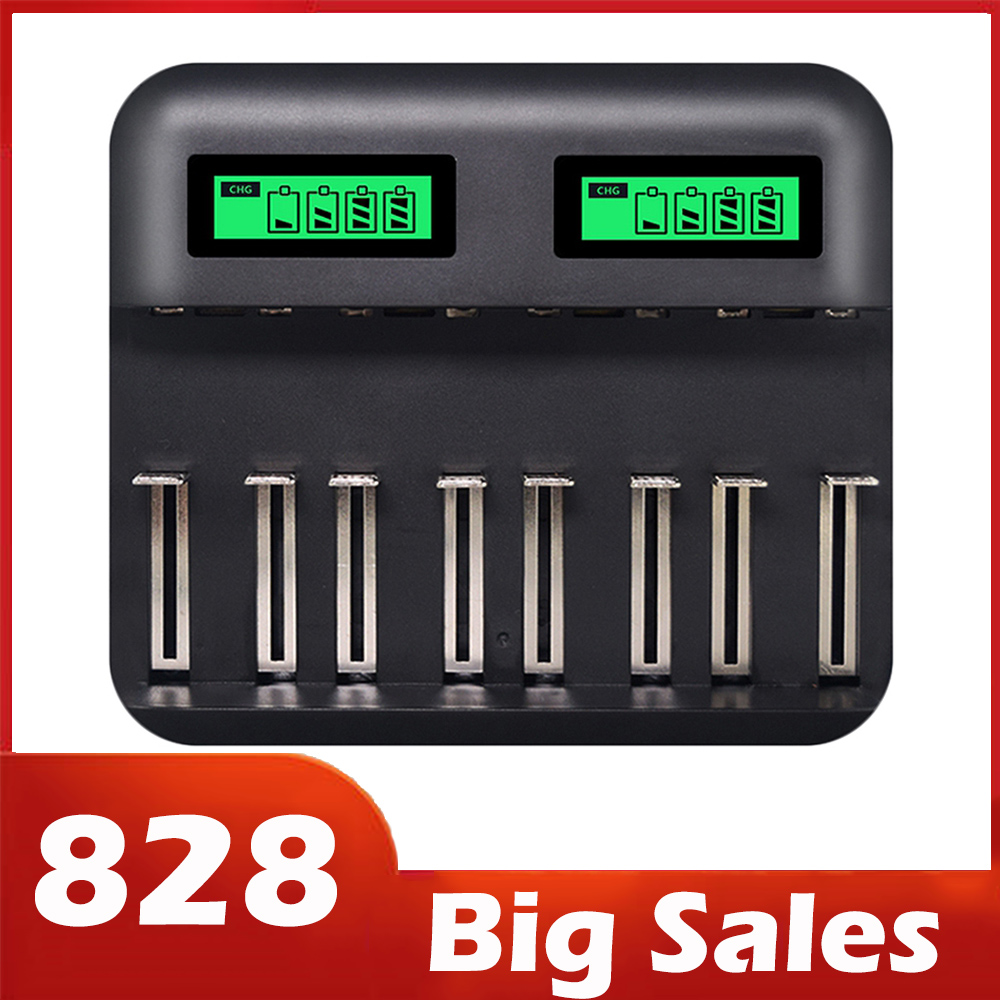 8 Slots Lcd Display Usb Smart Battery Charger For Aa Aaa Sc C D Size Rechargeable Battery 1 2V Ni-Mh Ni-Cd Quick Charger Hot