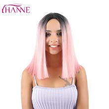 HANNE Pink Bob Wigs Short Haircut Shoulder length High Temperature Fiber Ombre Synthetic Wig For Women Daywear Cosplay Or Party