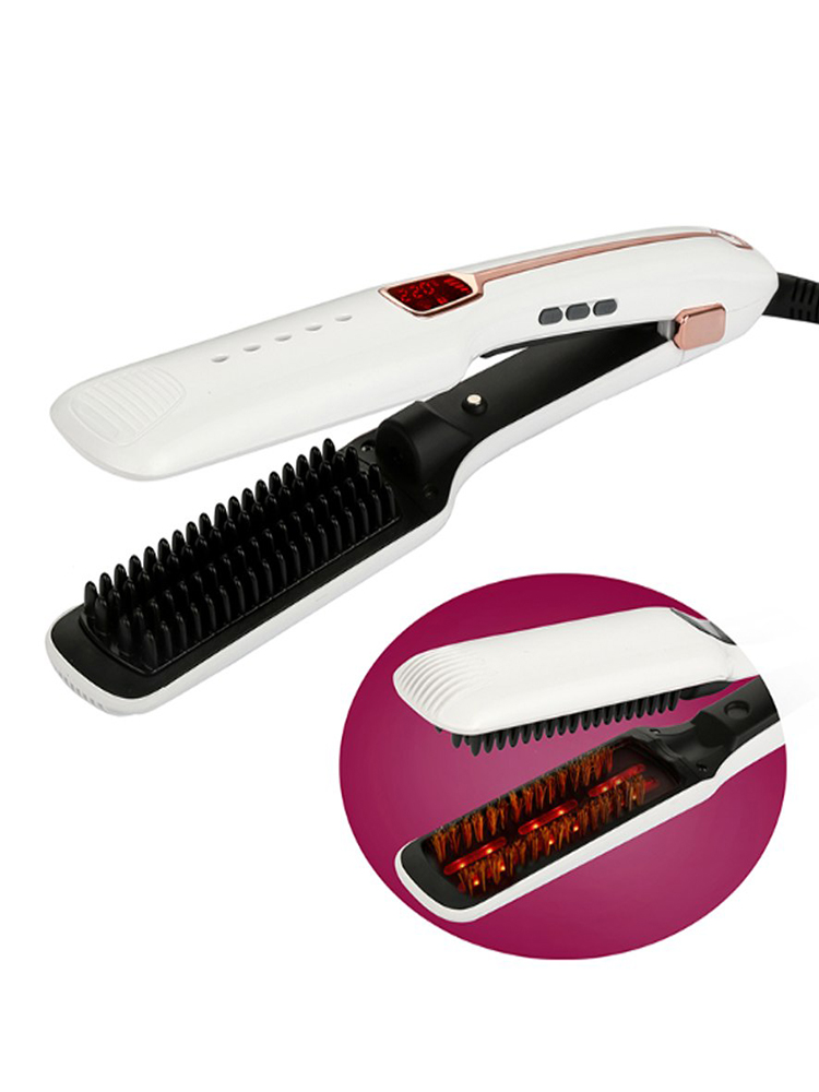 Steam Hair Straightener Professional Salon Steam Ionic with Infrared Flat Iron Ceramic Heating Comb Natural Hair Straightener image
