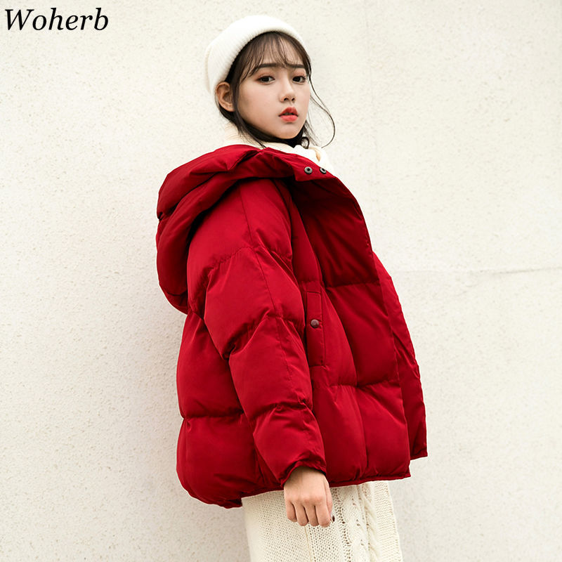 Woherb Fashion Winter   Parka   Women 2019 Loose Thick Cotton Down   Parkas   Padded Coat Female Slim Short Jackets Outwear Korean Style
