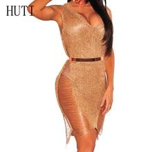 HUTI Women Sexy Bodycon Dress Sleeveless V Neck See Through Mesh Dress Summer Hollow Out Elegant Club Dress Perspective Vestidos sexy stand collar see through sleeveless dress for women