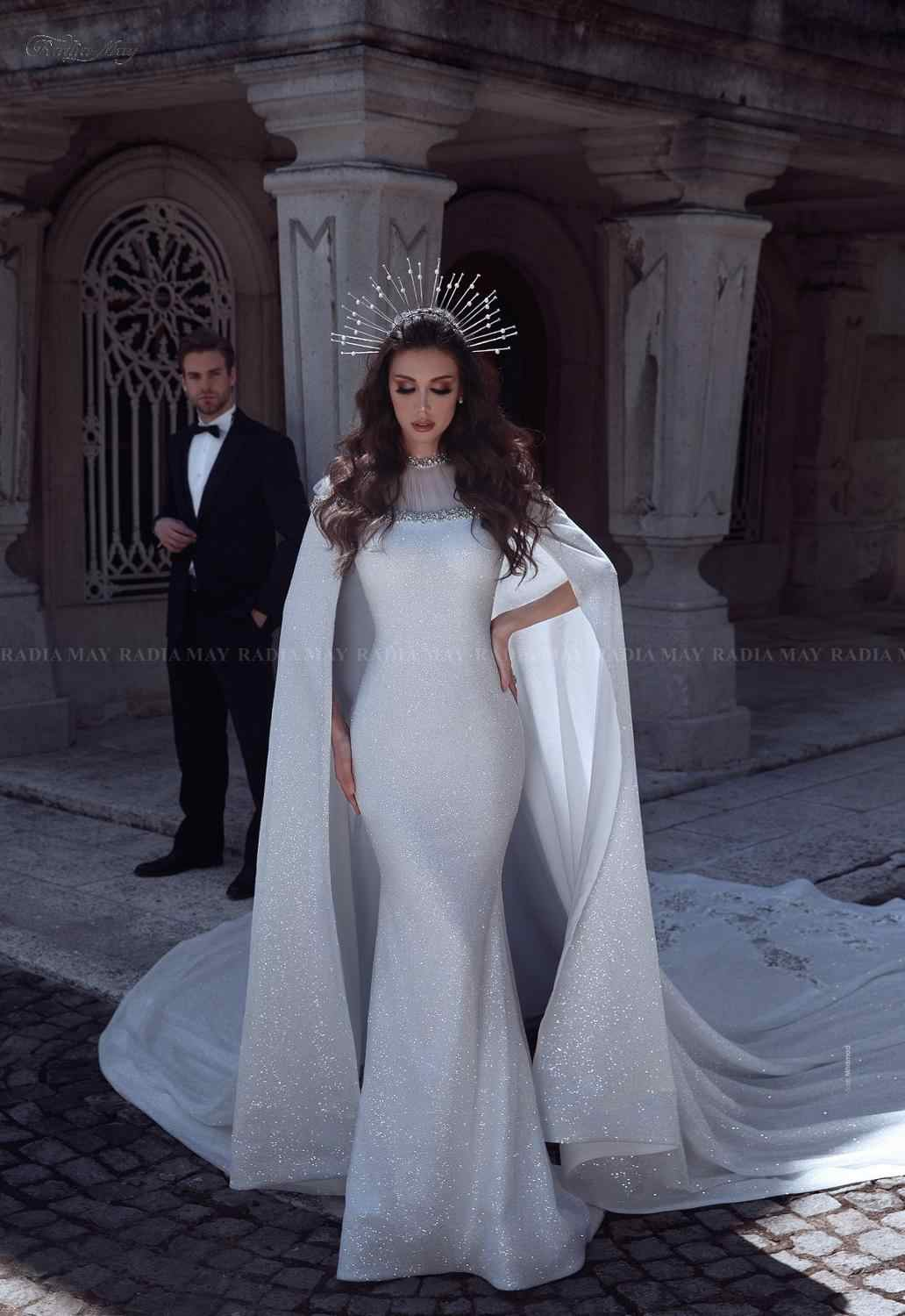 Sparkly Sequin Mermaid Arabic Wedding Dress With Long Train Cape