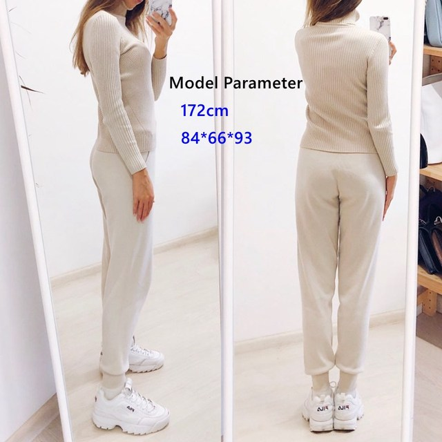Knitted Tracksuit Sweater Casual Suit 2 Piece Set Pants Sporting Suit 3