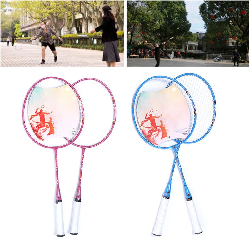 1Pair Iron Alloy Badminton Shuttlecock Racket Entertainment Racquet Sport Supply 448C