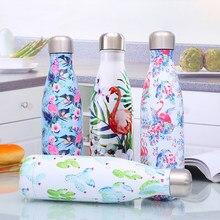 Flamingo çiçek kola su şişesi paslanmaz çelik termos bardak çay kahve seyahat spor salonu içme şişesi yalıtımlı fincan BPA ücretsiz