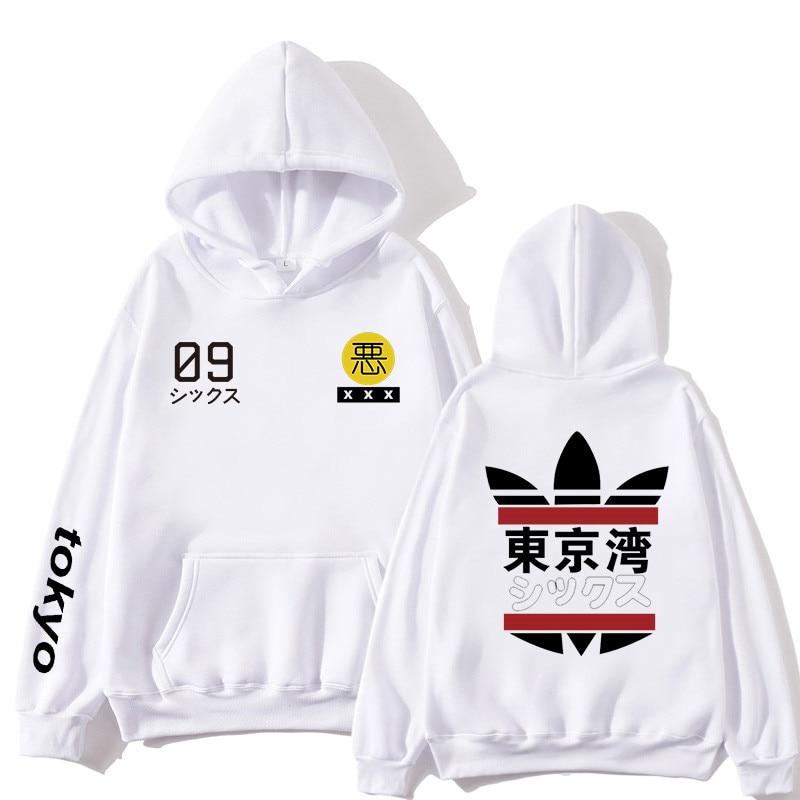 Fashion Japanese Streetwear Tokyo Bay Printed Hoodie Sweatshirt Japan Style Hip Hop Streetwear Pullover Men Casual Tracksuit