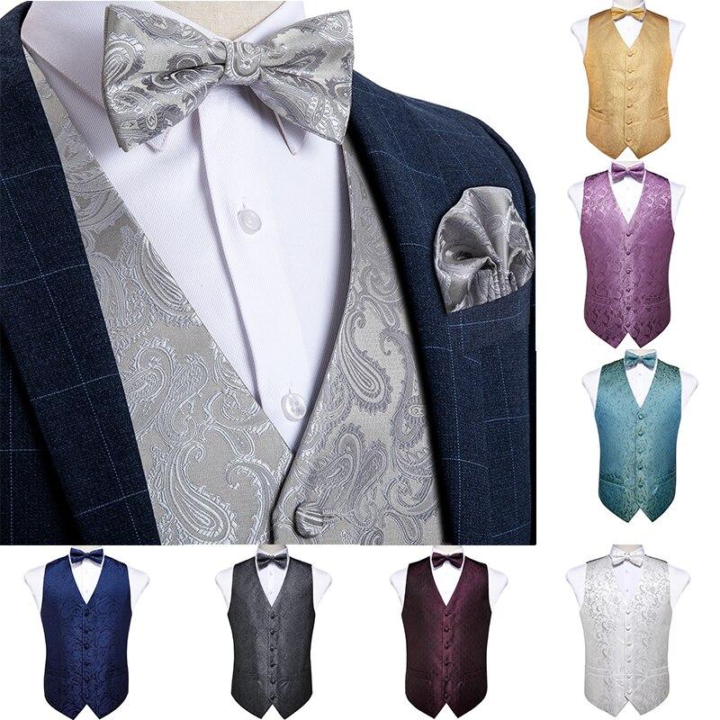 Men's Vest Gold Red White Blue Solid Paisley Silk Wedding Vest For Men Bowtie Hanky Cufflink Cravat Set For Suit Tuxedo DiBanGu