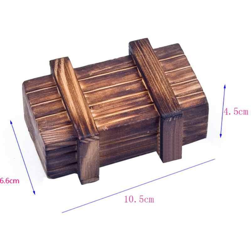 Compartimento mágico caja con rompecabezas de madera con cajón secreto Vintage truco secreto bebé cerebro Teaser juguete educativo para niños diversión