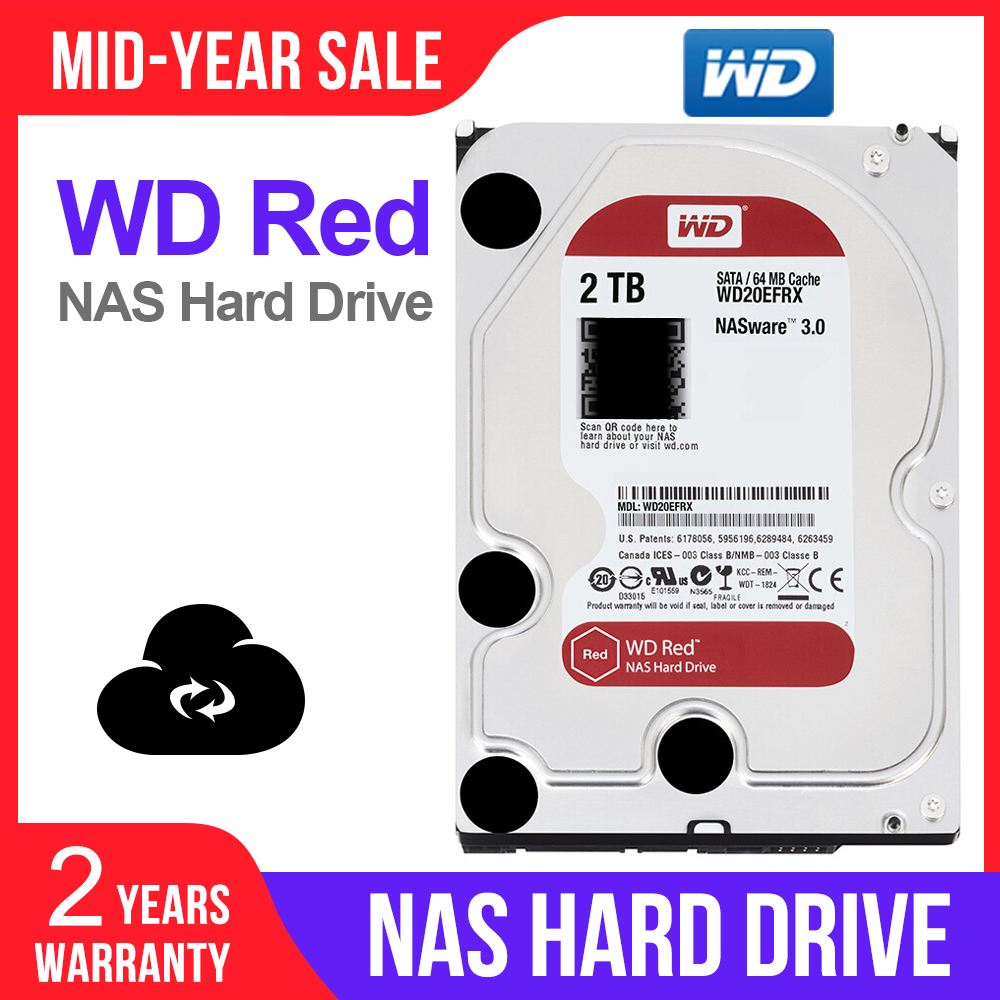Western Digital WD Red NAS 2TB Hard Disk Drive  2TB 3TB 4TB   5400 RPM Class SATA 6 GB/S 64 MB Cache 3.5 Inch for Decktop Nas-in External Hard Drives from Computer & Office