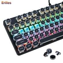Панк-механическая клавиатура USB-проводной круглый ретро клавиши игровой клавиатуры металла с 87 клавишами с подсветкой компьютера PC клавиатуры дропшипинг