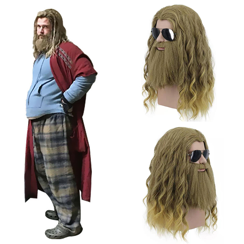 Thor Avengers 4 Endgame Loki Costume Fat Thor Cosplay Wig With Beard 45cm Heat Resistant Synthetic Hair Halloween Cosplay Wig