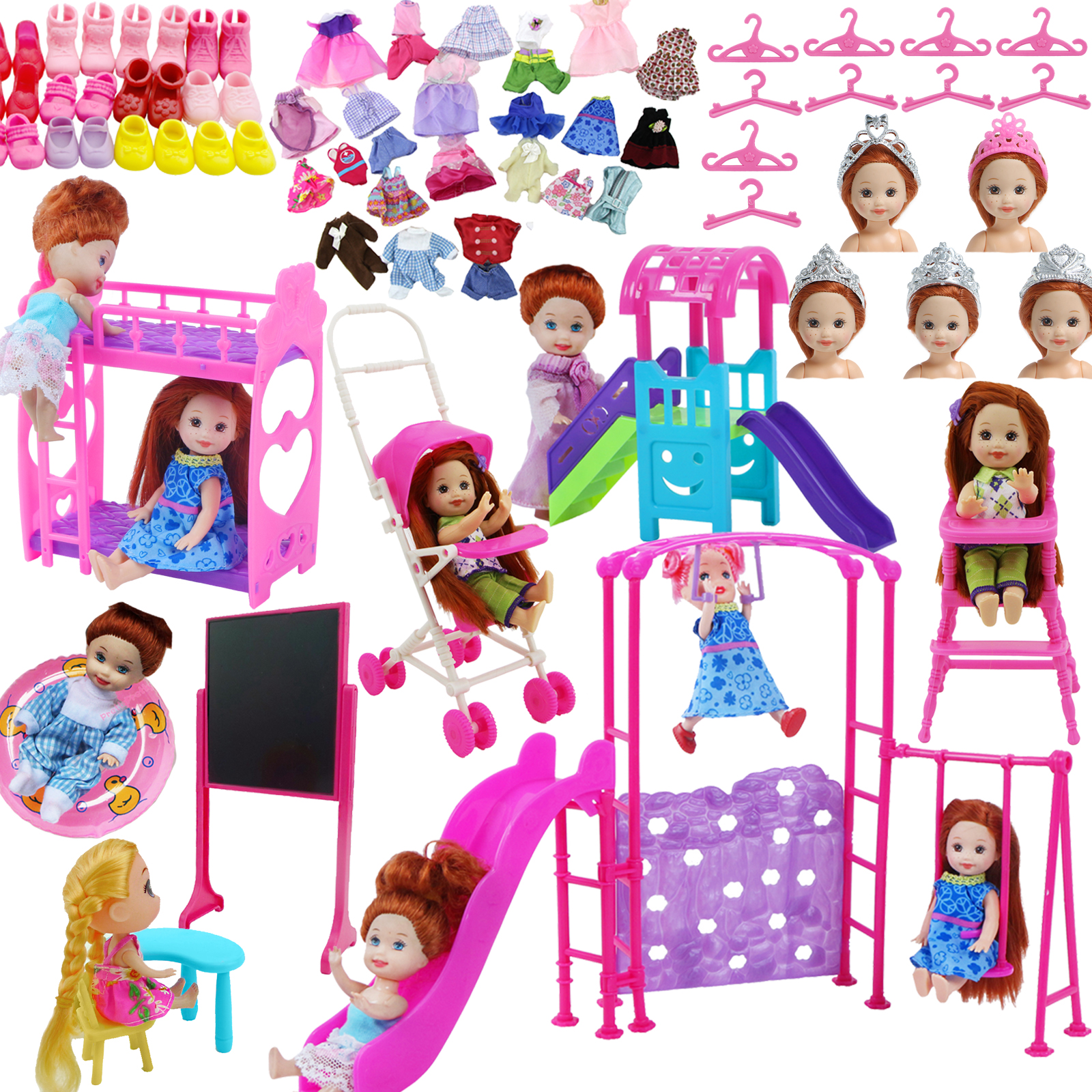 Nursery Pretend Play Toy Baby Bed Chair Doll Furniture Clothes Shoes For Barbie Doll Kelly Dollhouse Accessories Girl Toy Set