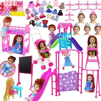 Przedszkole udawaj zagraj zabawki łóżeczko dla dziecka krzesło meble dla lalek ubrania buty dla barbie lalki Kelly akcesoria do domku dla lalek dziewczyna zestaw zabawek tanie i dobre opinie BJDBUS Z tworzywa sztucznego Fit For 4 (10cm) Doll Don t let kid put into their mouth and nose Furniture Akcesoria dla lalek