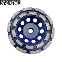 цена на DT-DIATOOL 1pc 5/8-11 Thread 125mm/5inch Double Row Diamond Grinding Cup Wheel For Concrete Brick Hard Stone Granite Marble