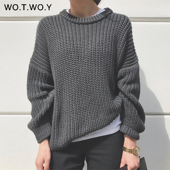 WOTWOY Elegant Autumn Oversized Sweater 2