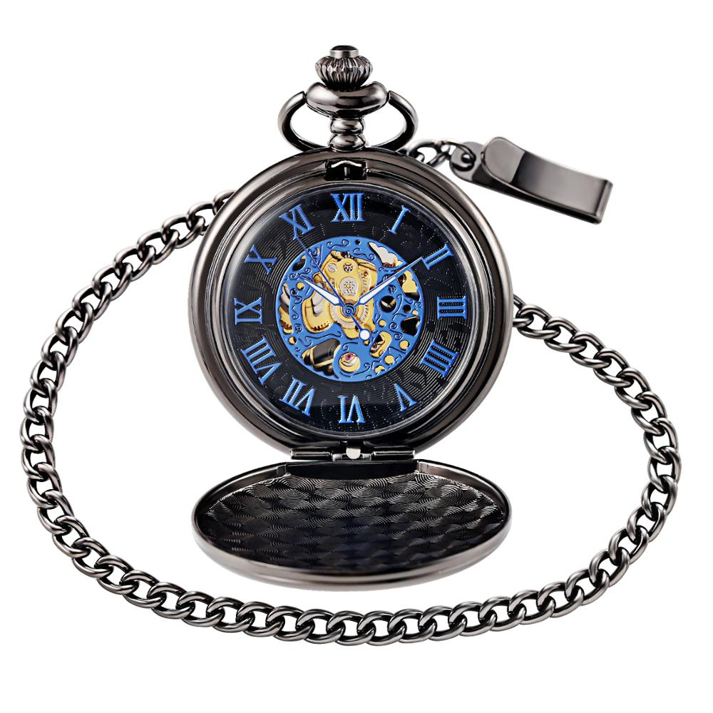 Retro Black Pocket Watch Mechanical Pocket Clock Chain Necklace Steampunk Blue Skeleton Mechanical Fob Pocket Watch Gift