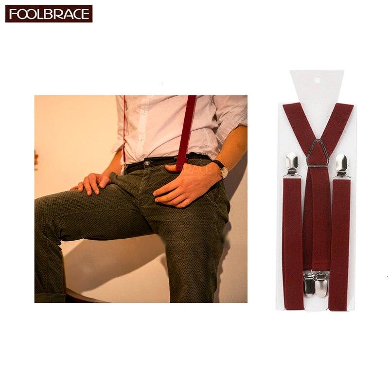 Solid Color Unisex Adult Suspenders Men 2.5cm Width Adjustable Elastic 4 Clips X Back Women Trousers Braces