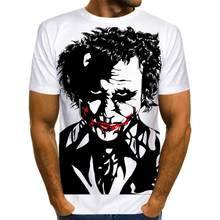Summer 2021 white all-match 3D printed T-shirt men's all-match clown casual men's and women's T-shirts Fun and interesting T-shi