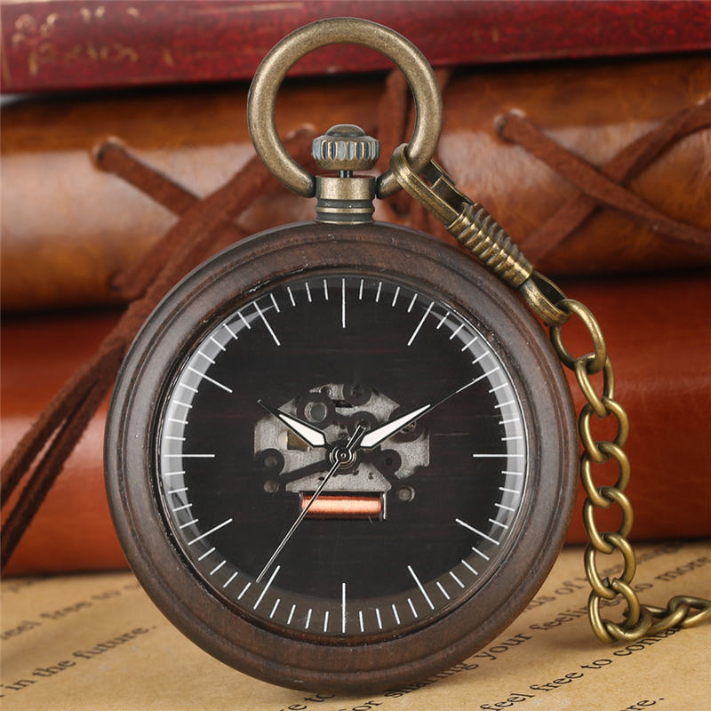 Open Face Wooden Pocket Watch Quartz Durable Wood Pendant Watch Luminous Pointers Pocket Clock Male Reloj De Bolsillo Hombre