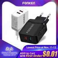 FONKEN double chargeur USB 28W Charge rapide 3.0 QC3.0 chargeur de téléphone rapide adaptateur mural Portable 2 ports pour tablette Mobile Android