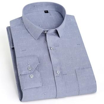 Camisa a la moda para hombre, de manga larga, con letras estampadas, de bolsillo tipo parche de fibra de bambú cómoda, de corte estándar, informal, a cuadros