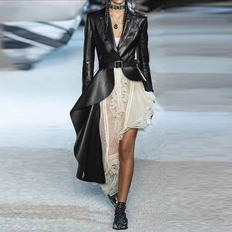 Pu Leather Women's   Trench   Long Sleeve with Belt Irregular Ruffle Hem Windbreaker Female 2019 Fall Fashion Autumn