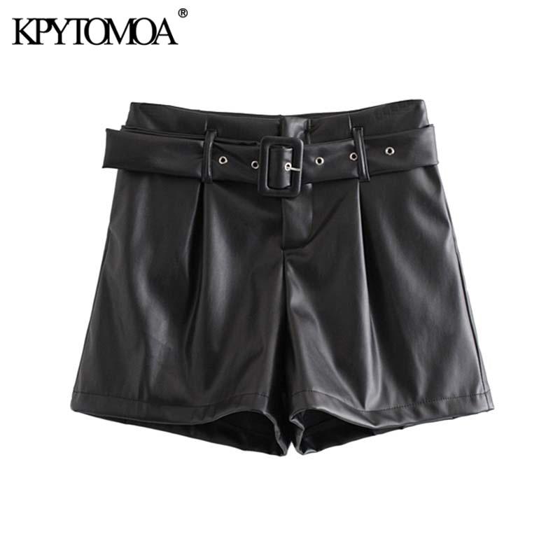 Vintage Stylish Faux Leather With Belted Shorts Women 2020 Fashion High Waist Side Pockets Female PU Short Pantalones Mujer