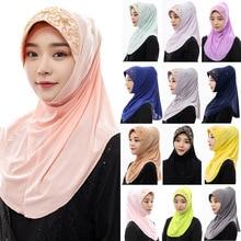 цена на Malaysia Muslim handmade beaded headscarf Indonesia convenient covering southeast Asia hijab scarf  scarf women