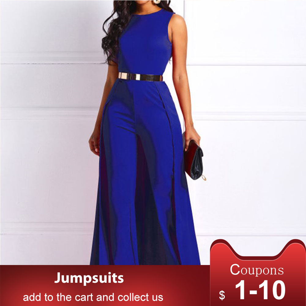 Royal Blue Women Long Jumpsuits Straight Plain Jumpsuit Elegant Formal Party Swallowtail Ladies Wide Leg Jumpsuits Rompers Work