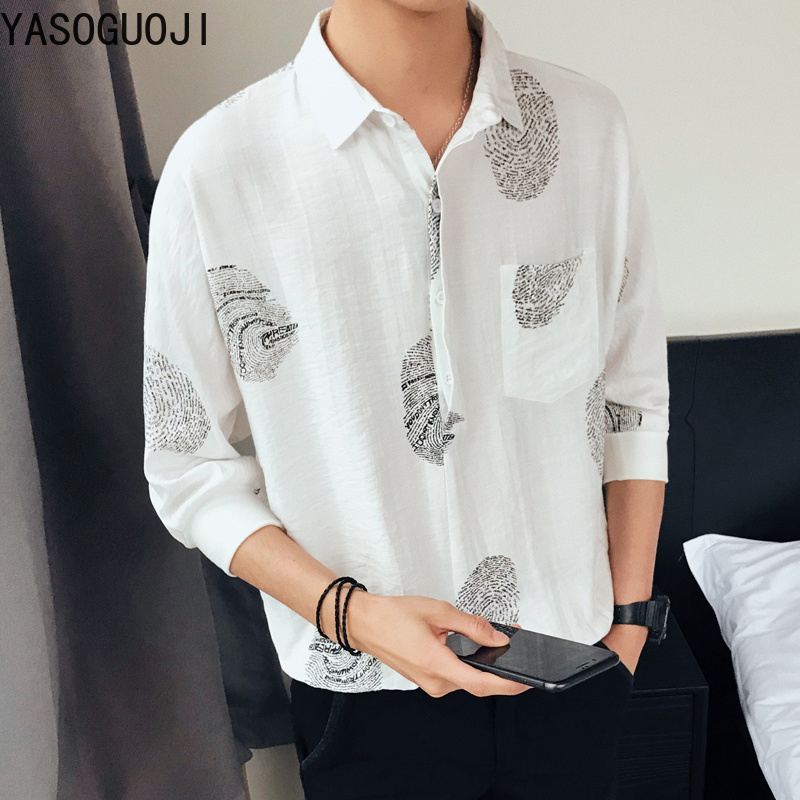 YASUGUOJI 2019 New Summer Loose Five-piece Sleeve   Polo   Shirt Square Collar Single Breasted Print Long Sleeve Mens Dress Shirts