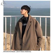 Privathinker 2020 남성 여성 가을 한국 재킷 2019 Mens Loose 하라주쿠 재킷 남성 단색 Single Breasted Streetwear Oversize
