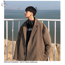 Privathinker 2020 Men Woman Autumn Korean Jackets 2019 Mens Loose Harajuku Jacket Male Solid Single Breasted Streetwear Oversize