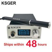 Ksger v2.1s stm32 oled t12 controlador de temperatura capa de metal estação ferro de solda 9501 alça de solda com bateria