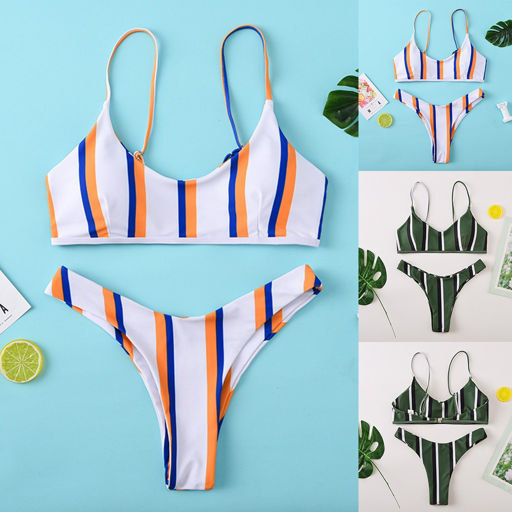 #Z2 Brazilian Bikini Thong Micro Print Bikini Striped Swimwear Women 2020 Push Up 2 Piece Swimsuit Female Bikinis Bathing Suit