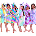 Зимний детский халат с единорогом для девочек, пижамы, детский халат с капюшоном и изображением животных, одежда для сна для мальчиков, детс...
