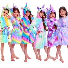 Inverno crianças unicórnio robe para meninas pijamas animais com capuz crianças roupão meninos sleepwear bebê toalha de banho de manga longa robe
