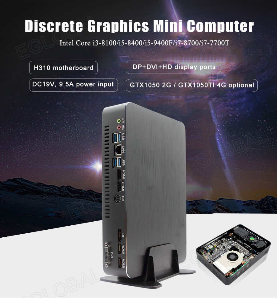 Eglobal High Standard Mini Gaming Computer 9th Gen I3 9100F I5 9400F DDR4 NVME Dedicated Card Mini PC  Fan Design Win10 Linux