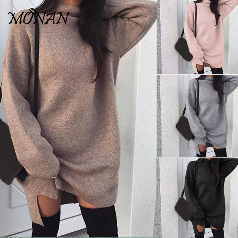Warm Pullover Autumn Winter Dress Pullover Bodycon Turtleneck Solid Dresses Long Sleeve Casual Femme Vestidos Woman Dress